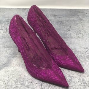 NEW Zara Raspberry Pink Lace Covered Court Shoes